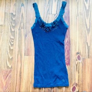 Navy Abercrombie Flower Detail Tank -- Size Small